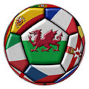 Soccer Ball With Flag Of Wales In The Center Poster