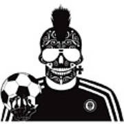 Soccer Skull Icon Background With Sunglasses And Ball. Poster