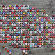 Soda Pop Bottle Cap Map Of The United States Of America Poster