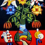 Softvase With Flowers And Figures Poster