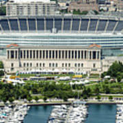 Soldier Field Stadium In Chicago Aerial Photo Poster