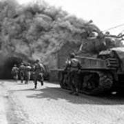 Soldiers Move Through A Smoke Filled Poster