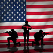 Soldiers On American Flag Poster