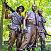 Soldiers Statue At The Vietnam Wall Poster