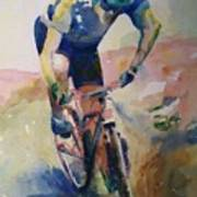 Solitary Biker Poster