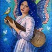 Songbird For A Blue Muse Poster by Sue Halstenberg