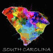 South Carolina Map Color Splatter 2 Poster