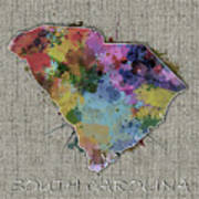 South Carolina Map Color Splatter 5 Poster