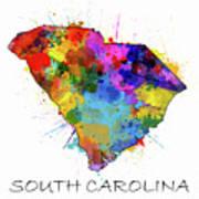South Carolina Map Color Splatter Poster