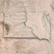 South Dakota State Usa 3d Render Topographic Map Neutral Border Poster