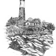 South Fork Lighthouse L I N Y  Bw Poster