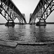 South Grand Island Bridge In Black And White Poster
