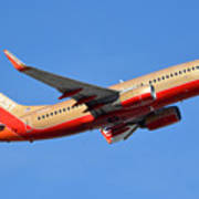Southwest Boeing 737-7h4 N792sw Retro Gold Phoenix Sky Harbor January 21 2016 Poster