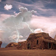 Southwest Navajo Rock House And Lightning Strikes Poster