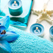 Spa Still Life With Towel And Candles Poster