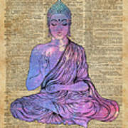 Space Buddha Dictionary Art Poster
