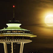 Space Needle Full Moon A150 Poster