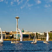 Space Needle Sailboats Poster