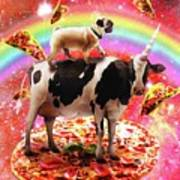 Space Pug Riding Cow Unicorn - Pizza And Taco Poster