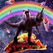 Space Pug Riding Dinosaur Unicorn - Taco And Burrito Poster
