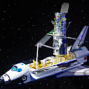 Space Shuttle With Hubble Telescope Poster