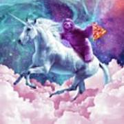 Space Sloth On Unicorn - Sloth Pizza Poster