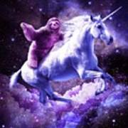 Space Sloth Riding On Unicorn Poster