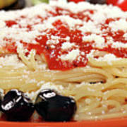 Spaghetti With Tomatoes And Olives Food Background Poster