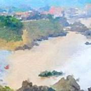 Spanish Coastline Waterline  Poster