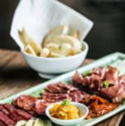 Spanish Smoked Meats Ham And Cheese Platter Starter Dish Poster
