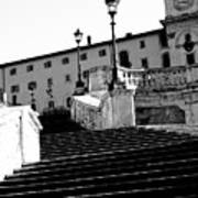 Spanish Steps Rome In Black And White Poster