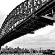 Spanning Sydney Harbour - Black And White Poster