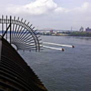 Speed Boats On The East River Poster