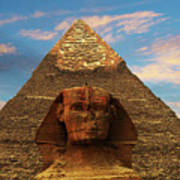 Sphinx And Pyramid Of Khafre Poster