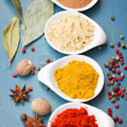 Spices On Blue   Poster