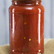 Spicy Salsa In Clear Glass Jar Poster