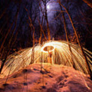 Spinning Steel Wool In Snow Poster