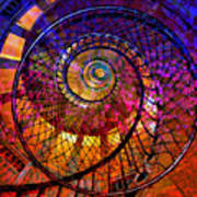 Spiral Spacial Abstract Square Poster