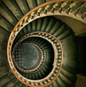 Spiral Staircase  In Green And Yellow Poster
