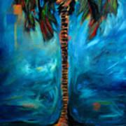 Splashy Palm Azure Poster
