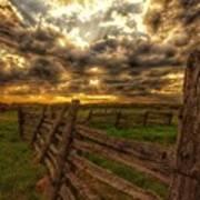Split Rail Cedar Fence Sunset Poster