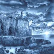 Split Rock Lighthouse Blue Poster