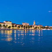 Split Waterfront Blue Hour View Poster