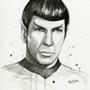 Spock Watercolor Portrait Poster