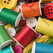 Spools Of Thread With Buttons Poster