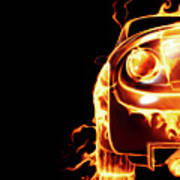 Sports Car In Flames Poster by Oleksiy Maksymenko