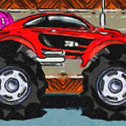 Sports Car Monster Truck Poster