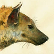 Spotted Hyena Animal Art Poster