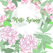Spring  Background  With Pink Peonies And Flowers.  Poster