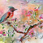 Spring Bird Fantasy Watercolor  Poster